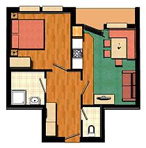 45 m² großes 2-Raum-Appartment für 2-4 Personen
