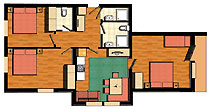 85 m² großes 4-Raum-Appartment
